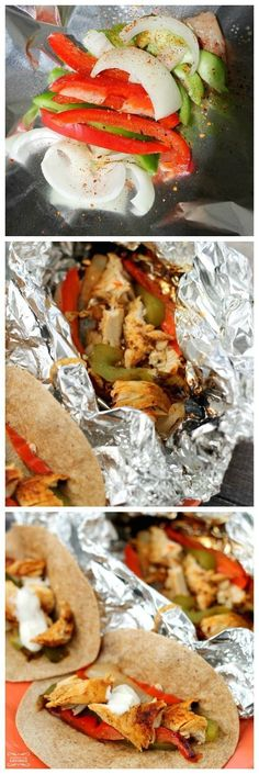 Chicken Fajitas on the Grill Recipe - perfect for at home cookouts or camping!