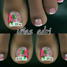 Pedicure Nail Art, Toe Nail Art, Toe Nails, Cute Pedicures, Toe Nail Designs, Pretty Toes, Flower Nails, How To Do Nails, Ale