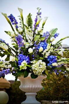 Blue Wedding Flowers Elegant Touch Floral Designs Adds Something Blue To A Downtown San Diego Wedding Large Flower Arrangements, Funeral Flower Arrangements, Wedding Flower Arrangements, Wedding Bouquets, Wedding Veils, Church Wedding Flowers, Altar Flowers, Funeral Flowers, Blue Centerpieces