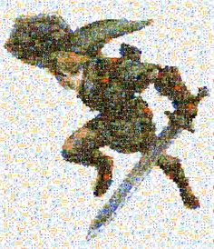 Link from The Legend of Zelda. Made up from screen shots and sprites from every Zelda game ever made. Video Game Art, Video Games, Midna, Twilight Princess, Breath Of The Wild, Legend Of Zelda, Amazing Art, Awesome, Anime Art