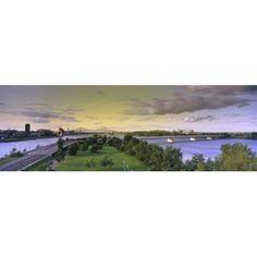 Bridges across a river Jacques Cartier Bridge Pont De La Concorde Montreal Quebec Canada Canvas Art - Panoramic Images (36 x 12)