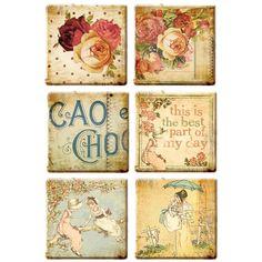 Clay ART TILES - Prima Romantique Tiles - Mixed Media Tiles - Vintage Art Tiles - Victorian Embellishments - Shabby Chic Tiles by OneDayLongAgo on Etsy