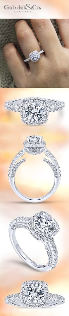 Gabriel & Co. - The Classic 14k White Gold Round-Cut Diamond Halo Engagement Ring.