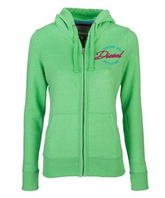Trudy Summer Green Price: € 49.00  Ladies Full zip hood  Lined hood with rope pull  Concealed metal zip with logo  Raised rubber Diesel logo print  50% cotton 50% polyester   Brushed fleece interior