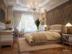 Elegant, luxurious master bedroom decor ideas. Window treatment.