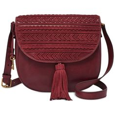 Fossil Emi Saddle Bag ($218) ❤ liked on Polyvore featuring bags, handbags, shoulder bags, wine, leather purses, leather shoulder bag, leather handbags, cross-body handbag and fossil crossbody
