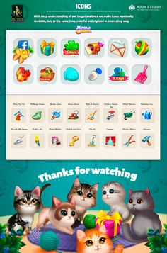 Meow Match - is a calming and nice game about solving puzzles to help cute cats find their home and make it maximally beautiful. That's why UI in this game also calming, nice and pleasant. Match 3 Games, Kitty Games, Game Icon, Mini Games, Game Ui, Calming, Art Direction, Owls, Cute Cats