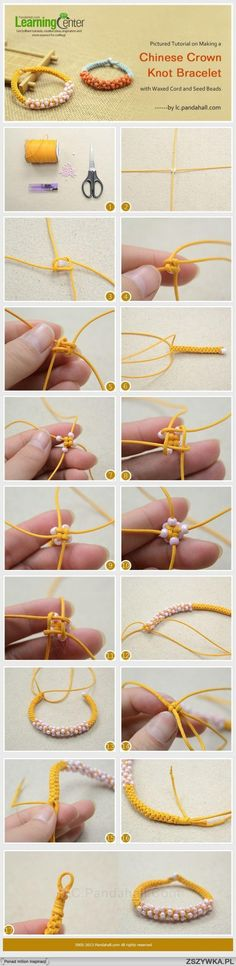 Pictured Tutorial on Making a Chinese Crown Knot Bracelet with Waxed Cord and Seed Beads. Oh and band geeks of the percussion nature, its just a bunch of cymbal knots! Bracelet Knots, Macrame Bracelets, Diy Bracelet, Bracelet Charms, Knotted Bracelet, Paracord Bracelets, Braclets Diy, Friendship Bracelets With Beads, Bracelet Making