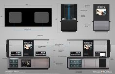 various Design jobs for Kiosks, RMU's, and their Headquarters based showroom in Sandiego Pop Display, Display Design, Kiosk Design, Showroom Design, Point Of Sale, Stand Design, Smart Home, Sony, Floor Plans