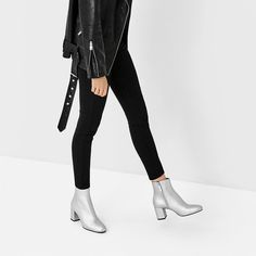 Black outfit with silver boots Metallic Ankle Boots, Silver Boots, Silver High Heels, Nordstrom Boots, Casual Outfits, Fashion Outfits, High Heel Boots, Black White, My Style