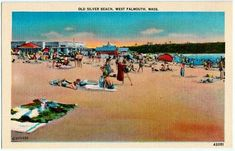 Vintage Cape Cod Postcard -- Beachgoers at Old Silver Beach in West Falmouth ~~~ The VintagePlum Shop on Etsy  ~~~ #vintage #capecod #postcard #beachgoers #oldsilverbeach #westfalmouth #sunbathing #beach #swim #ocean #summer #oldcapecod #massachusetts #newengland #falmouth #ma #1940s #vintagepostcard