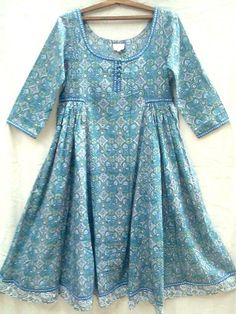 Boho chic Anokhi Teal & Blue Suzani Jali Hand block print Indian cotton Gypsy style Maxi DressNice fine cotton with scoop neckline, hand made buttons, side Girls Dresses Sewing, Stylish Dresses For Girls, Frocks For Girls, Casual Dresses, Girls Designer Dresses, Winter Dresses, Short Dresses, Pakistani Kids Dresses, Pakistani Dress Design