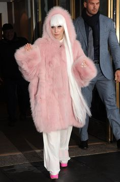 "Spotted: Lady Gaga wears her best ""Poker Face"" and pink fur on Feb. 18 in New York"