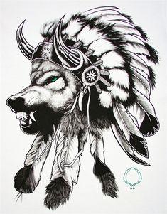 wolf in an Indian headdress tattoo.