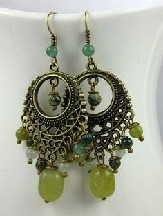 Green Chandelier Earrings Bohemian Bollywood by LeafAndTendril, $38.00