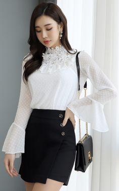 StyleOnme_Gold Button Wrap Style Mini Skort #miniskirt #springtrend #koreanfashion #kstyle #kfashion #dailylook #seoul