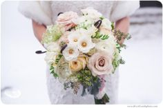 Winter bouquet by Parsonage Events at Oakhurst Golf and Country Club.