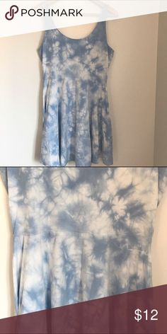 Light blue tie dye skater dress Light blue tie dye skater dress. The only imperfection is two very small and extremely unnoticeable dots on the top of the dress PINK Victoria's Secret Dresses