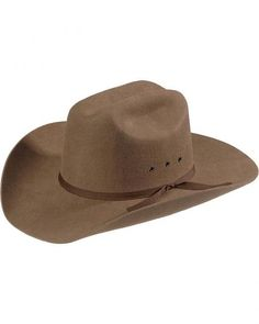 00a34c60156 Brown wool felt cowboy hat - Brown eyelits - Brown hat band - 4 inch