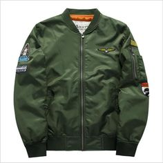 6915d141bfffb Asstseries Brand Men S Casual Embroidery Army Green Bomber Jacket Air Force  Style Baseball Coat