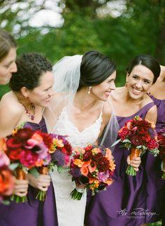 Purple fall wedding, purple bridesmaids, fall bouquets, orange and purple bouquets