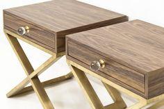 """$796 Dimensions: 24"""" Wide / 20"""" Deep / 25"""" Tall Boca Brass X-Leg Walnut Side Table"""