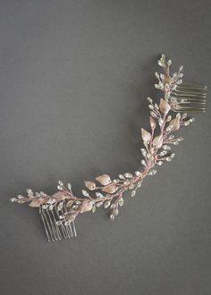 Bespoke for Holly_Rose gold crystal bridal hair vine 6