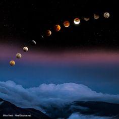 Lunar eclipse from Haleakala, Maui 4/14/14