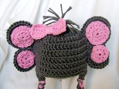 Little Miss Elephant Beanie in Gray and Baby by mamamegsyarnshoppe, $22.00