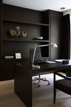 Home Office Modern masculine home office with striped accents and cream-and-black