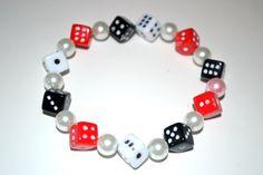 Dice Bracelet RedWhite and Black Rockabilly Style by By5Jewelry, $7.00