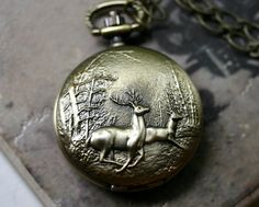 Deer Pocket Watch Necklace by robinhoodcouture on Etsy Hipster Jewelry, Quartz Pocket Watch, Pocket Watch Necklace, Pet Peeves, Brass Chain, Guys And Girls, Antique Brass, Cufflinks, Jewels