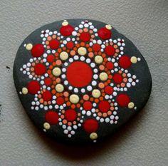 Beach Pebble Art ~ Hand Painted by Miranda Pitrone~ Coral &Tangerine Flower Mandala ~ Dot art, Fairy Garden Stones by P4MirandaPitrone on Etsy