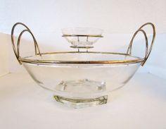 Mid Century Atomic Era Chip/Dip Serving Bowl Set by lingerawhile