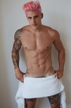 Brazilian model Danilo Borgato is the latest subject to get nude for the lens of fashion photographer Mario Testino. Danilo follows in the footsteps of Michiel Huisman and Caua Reymond. Sporting a temporary pink hairdo, Danilo strips down naked save for Testino's infamous white towel for a revealing photo.  Related