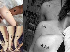 Awesome 3 triangles for sisters and brother - Tattoo's - Tatoo Ideen Bruder Tattoo, Chevron Tattoo, Tattoos Familie, Tattoo Mutter, Sibling Tattoos, Matching Tattoos For Siblings, Siblings Tattoo For 3, Best Friend Matching Tattoos, Parent Tattoos