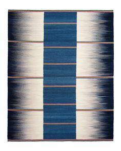 Flatweave Rug Petrol Grey Stripe Gelim Ptolemy by PTOLEMYMANN