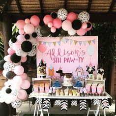 Puppy Themed Dessert Table from a Birthday Puppy Paw-ty Puppy Birthday Parties, Puppy Party, Cat Party, Dog Birthday, Birthday Party Decorations, 7th Birthday Party For Girls Themes, Kids Birthday Party Ideas, Dessert Table Birthday, Birthday Activities