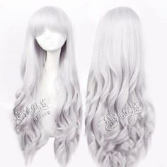 COS Wig Fashion Long Silver White Cosplay Anime Curly Wigs | eBay