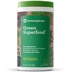 Amazing Grass Green Superfood: Super Greens Powder with Spirulina, Chlorella, Digestive Enzymes & Probiotics, Original, 60 Servings : Herbal Supplements : Grocery & Gourmet Food Best Greens Powder, Super Greens Powder, Amazing Grass Green Superfood, Wheatgrass Powder, Best Superfoods, Superfood Powder, Green Fruit, Green Foods, Green Powder