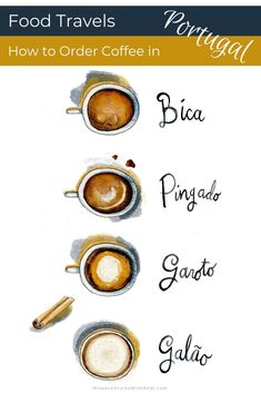 Food Travels: How to Order Coffee Portugal. Uma bica, um pingado, um garoto, um galão - how do you keep them all straight? How to order coffee in Lisbon cafe. Types of coffee in Portugal. #porutgal #coffee #libson What to drink in Portugal. Portugal coffee guide
