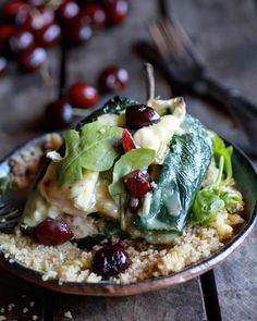 Roasted Cherry, Couscous and Brie stuffed Poblano Peppers   halfbakedharvest.com