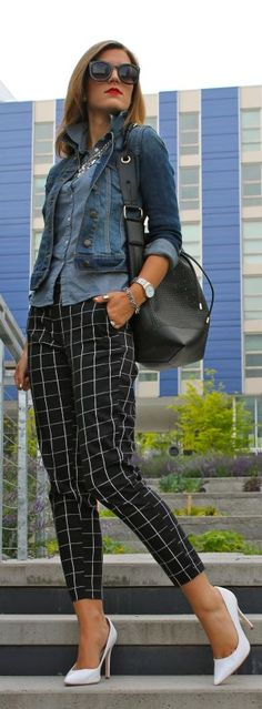 Hm Black And White Windowpane Ankle Women's Trousers by Chic Street Style