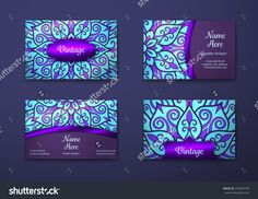 Vector Vintage Visiting Card Set. Floral Mandala Pattern And Ornaments. Oriental Design Layout. Islam, Arabic, Indian, Ottoman Motifs. Front Page And Back Page. - 375384799 : Shutterstock