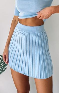Wear the Forgiven Knit Skirt Pastel Blue with the matching Shinjuku Knit top for a cute AF two-piece look. This pleated skirt is made from stretchy knit fabric and is giving us a major Clueless moment. Green Mini Skirt, Flared Mini Skirt, Cute Skirts, A Line Skirts, Mini Skirts, Aesthetic Fashion, Aesthetic Clothes, Blue Aesthetic Pastel, Pastel Outfit