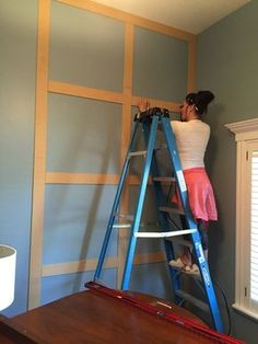 Looking for a great way to add architectural interest to a boring wall? Look no further… Board and Batten is a super easy and inexpensive way to achieve that goal. In Fact, this entire project… Home Renovation, Home Remodeling, Accent Wall Bedroom, Navy Accent Walls, Wall Accents, Navy Master Bedroom, Accent Walls In Living Room, Diy Bedroom, Wall Molding