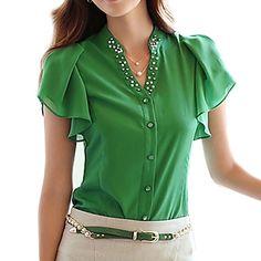 στερεά+μπλε+/+λευκό+/+πράσινο+t-shirt+γυναικών,+casual+ν+λαιμό+με+χάντρες+κοντό+μανίκι+–+EUR+€+12.73