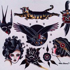 tattoo flash by mike adams