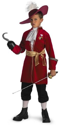 Peter Pan Disney Captain Hook Toddler / Child Costume The pirate who's out to get Peter Pan! An officially licensed ©Disney Peter Pan costume. Outfit includes a Maroon jacket with atta Captain Hook Halloween Costume, Disney Halloween Costumes, Halloween Kids, Pirate Halloween, Captain Costume, Halloween Birthday, Happy Halloween, Birthday Parties, Cheap Halloween