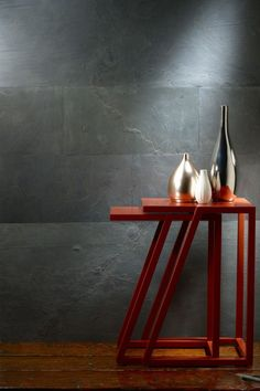 """Phillip Jeffries introduces a new way to cover walls with GEOLOGY. Authentic honed slate is sold in a flexible panel format, creating a one-of-a-kind wall statement. A patented precision process creates a micro thin """"veneer"""" of real slate reinforced by a flexible fiberglass resin backing. Available in 2 panel sizes; Panel A: 12"""" x 24"""" & Panel B: 24"""" x 48""""."""